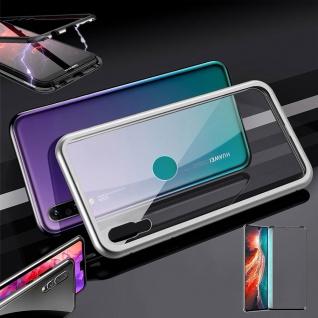 Für Huawei P30 Magnet Glas Tasche Silber / Transparent + 0, 3 4D H9 Glas Etuis