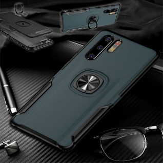 Für Huawei P30 Lite Magnet Metall Ring Hybrid Navy Tasche Hülle Etuis Cover Case