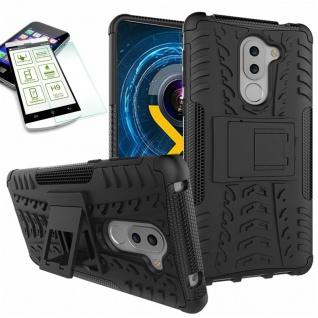 Hybrid Case 2teilig Schwarz für Huawei Honor 6X + Hartglas Tasche Hülle Cover