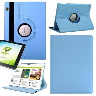 Für Huawei MediaPad M5 Lite Hellblau 360 Grad Etuis Tasche Kunst Leder + H9 Glas