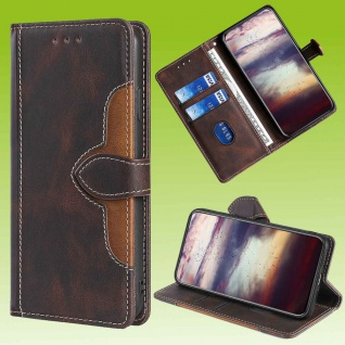 Für Samsung Galaxy S20 FE Design Handy Tasche Braun Etuis Kunst-Leder Hülle Case