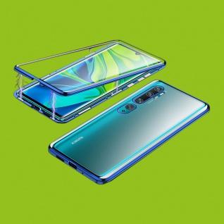 Beidseitiger 360 Magnet Glas Bumper Tasche Blau für Xiaomi Mi Note 10 / 10 Pro