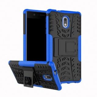 Hybrid Case 2teilig Outdoor Blau Tasche Hülle für Nokia 3 Schutz Etui Cover Neu