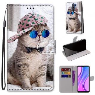 Für Xiaomi Redmi 9 Kunst-Leder Handy Tasche Motiv 3 Hülle Etuis Cover Schutz Neu
