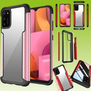 Für Samsung Galaxy A02S A025F Hybrid Iron Man Rose Gold Handy Tasche Etuis Hülle