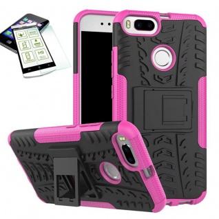 Hybrid Tasche Outdoor 2teilig Pink für Xiaomi Mi 5X Mi A1 Hülle Hartglas Case
