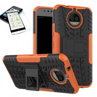 Hybrid Case Tasche Outdoor 2teilig Orange für Motorola Moto G5S Hülle Hartglas