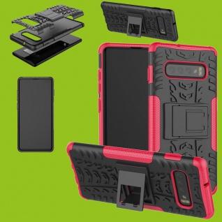 Für Samsung Galaxy Galaxy S10 G973F 6.1 Hybrid 2teilig Outdoor Pink Tasche Cover