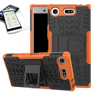Hybrid Case 2 teilig Orange für Sony Xperia XZ1 Compact + H9 Hartglas Tasche