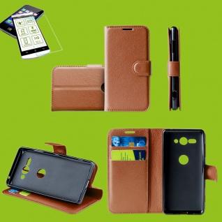 Für Samsung Galaxy A50 6.4 Zoll Tasche Wallet Braun Hülle Etuis + H9 Hart Glas