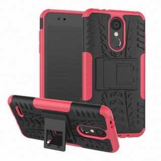 Für LG K9 2018 Hybrid Case 2teilig Outdoor Pink Etui Tasche Hülle Cover Schutz