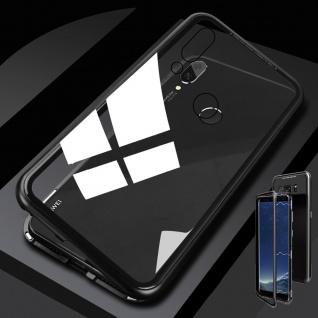Für Huawei Honor 8X MAX Magnet / Metall Glas Schwarz / Transparent Tasche Hülle