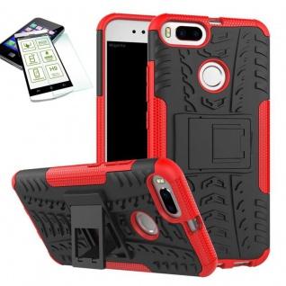 Hybrid Case Tasche Outdoor 2teilig Rot für Xiaomi Mi 5X Mi A1 Hülle Hartglas