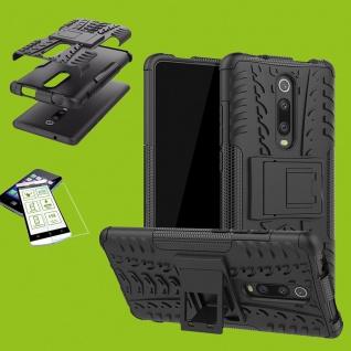 Für Xiaomi Redmi Note 8 Pro Hybrid Tasche Outdoor 2teilig Schwarz + H9 Glas Etui