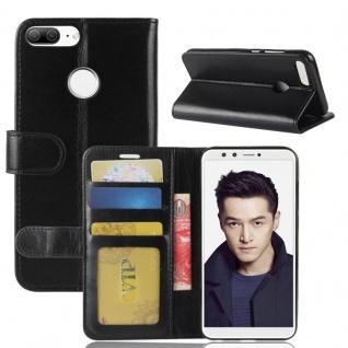 Tasche Wallet Premium Schwarz für Huawei Honor 9 Lite Hülle Case Cover Schutz