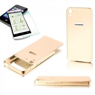 Alu Bumper 2 teilig Gold + 0, 3 mm H9 Hartglas für Huawei Y6 Hülle Tasche Case
