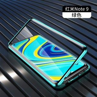 Beidseitige Magnet Glas Bumper Handy Tasche Grün für Xiaomi Redmi Note 9 Hülle