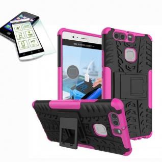 Hybrid Case Tasche Outdoor 2teilig Pink für Huawei P9 + H9 Hartglas Cover Etui