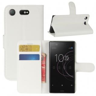 Schutzhülle Weiß für Sony Xperia XZ1 Compact / Mini Bookcover Tasche Case Cover