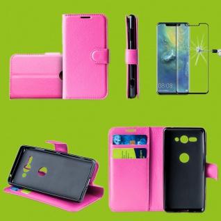 Für Huawei P30 Tasche Wallet Pink Hülle Etuis Cover + H9 4D Curved Hart Glas Neu