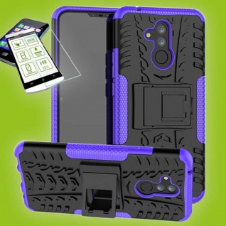Für Huawei Mate 20 Lite Hybrid Tasche Outdoor 2teilig Lila Hülle + H9 Glas Case