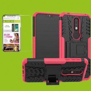 Für Nokia 7.1 5.84 Zoll Hybrid Tasche Outdoor 2teilig Pink Hülle + H9 Glas Cover