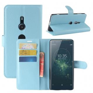 Tasche Wallet Premium Blau für Sony Xperia XZ2 Hülle Case Cover Schutz Etui Neu