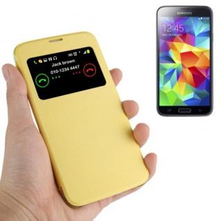 Smartcover Window Gelb für Samsung Galaxy S5 Mini G800 A F Tasche Cover Case Neu