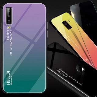 Für Samsung Galaxy A7 A750F 2018 Color Effekt Glas Cover Lila Tasche Hülle Case