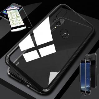 Für Huawei P20 Lite Magnet Glas Tasche Case Schwarz / Transparent + 0, 26 H9 Glas