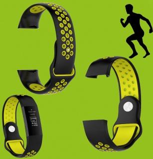 Für Fitbit Charge 3 Kunststoff Silikon Armband für Männer Größe L Schwarz-Gelb