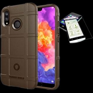 Für Huawei P20 Pro Tasche Shield TPU Silikon Hülle Braun + 0, 26 H9 Glas Cover