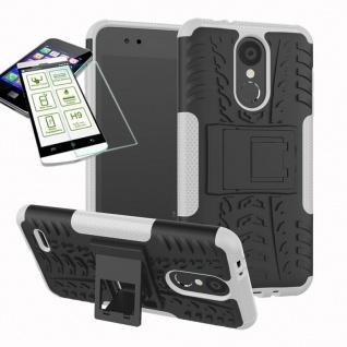 Für LG K9 2018 Hybrid Case Tasche Outdoor 2teilig Weiß Hülle + 0, 26mm H9 Glas