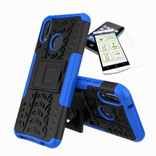 Für Huawei P20 Lite Hybrid Tasche Outdoor 2teilig Blau Hülle + H9 Glas Hülle Neu