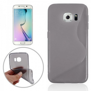 Silikonhülle S-Line Grau Cover Case für Samsung Galaxy S6 Edge G925 G925F Tasche