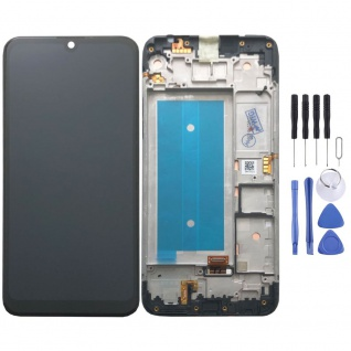 Für LG K40s Schwarz Display LCD Einheit Touch mit Rahmen Ersatz Ersatzteil Neu