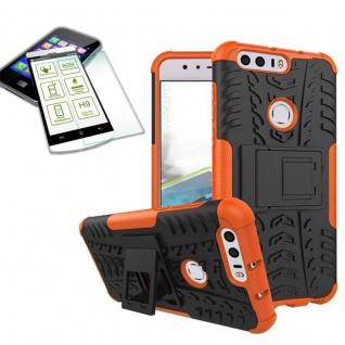Hybrid Case Tasche Outdoor 2teilig Orange für Huawei Honor 8 + Hartglas Cover