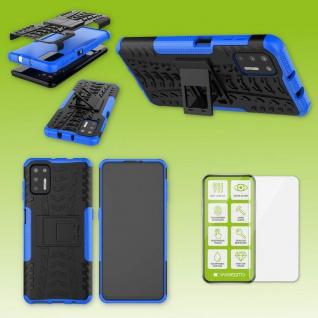 Für Motorola Moto G9 Plus Handy Tasche Cover Hülle Etuis Blau Case + H9 Glas Neu
