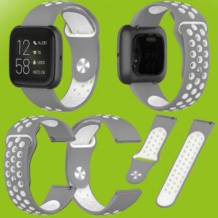 Für Fitbit Versa 2 Kunststoff Silikon Armband für Frauen Größe S Grau-Weiß Neu