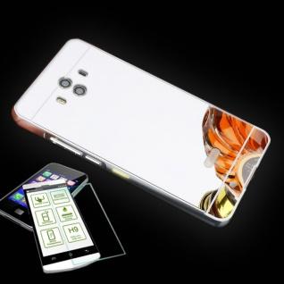 Alu Bumper 2 teilig Silber + 0, 3 H9 Panzerglas für Huawei Mate 10 Tasche Hülle