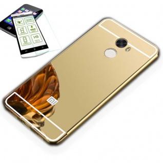 Alu Bumper 2 teilig Gold + 0, 3 H9 Glas für Xiaomi Redmi 5 Plus Tasche Hülle Neu