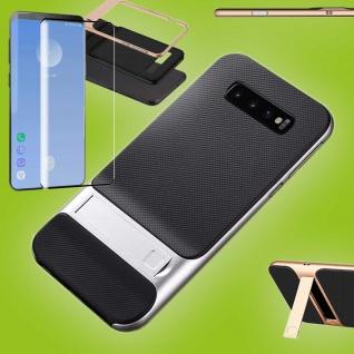 Standing Hybrid Tasche Etuis Silber für Samsung Galaxy S10 + 4D H9 Curved Glas
