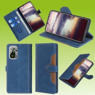 Für Xiaomi Redmi Note 10 / 10s Design Handy Tasche Blau Etuis Kunst-Leder Hülle