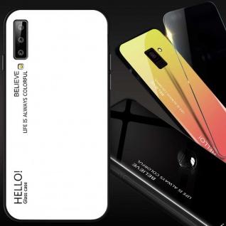 Für Samsung Galaxy A7 A750F 2018 Color Effekt Glas Cover Weiß Tasche Hülle Case