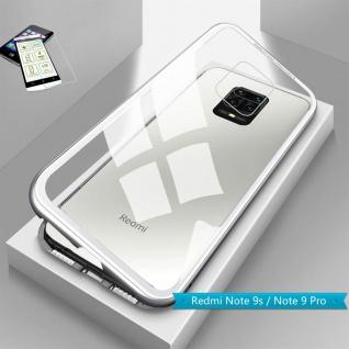 Für Xiaomi Redmi Note 9S Magnet Handy Tasche Hülle Silber Transparent + H9 Glas
