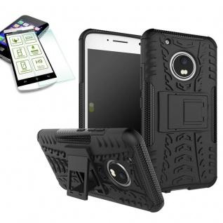 Hybrid Case 2teilig Schwarz für Lenovo Moto G5 Plus + Hartglas Tasche Hülle