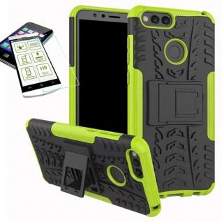 Hybrid Case Tasche Outdoor 2teilig Grün für Huawei Honor 7X Hülle Hartglas Neu