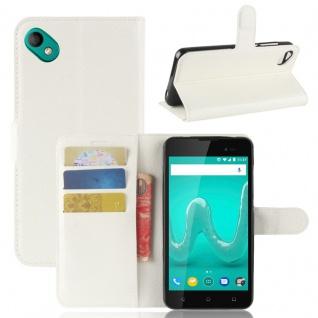 Tasche Wallet Premium Weiß für Wiko Sunny 2 Plus Hülle Case Cover Etui Schutz