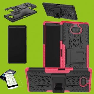 Für Sony Xperia 10 Plus Hybrid 2 teilig Pink Hülle + 0, 3 mm H9 Glas Tasche Etuis