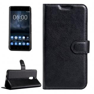Tasche Wallet Premium Schwarz für Nokia 6 Schutz Hülle Case Cover Etui Zubehör - Vorschau 1